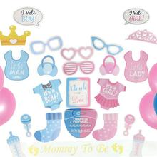 Gender Reveal Party Balloon Set Supplies Boy Girl Banner Decorations Confetti Balloons Photo Props