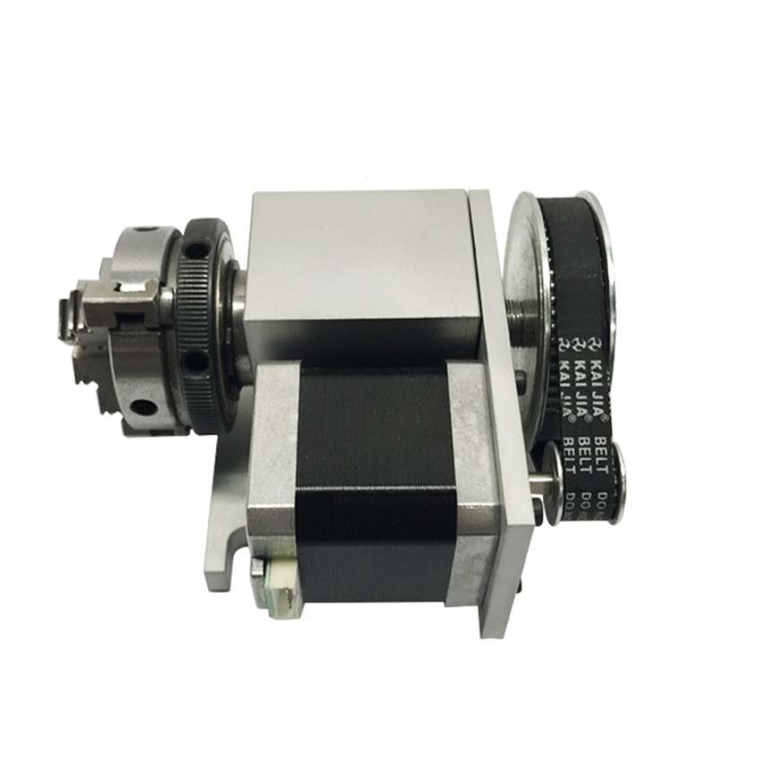 US $146 59 5% OFF|CNC 4th Rotary Axis K02 4Jaw 63mm/2 5In Lathe Chuck  Nema17 Stepper Motor Dividing Head+ Tailstock for Woodworking CNC1520  Router-in