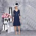 Vestidos largos de La Manera Abuela Vestido 2015 Azul Oscuro de Manga Larga de Encaje Longitud de La Rodilla Madre de los Vestidos de Novia Vestidos