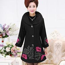 New autumn winter middle age women woolen coat elegant mother embroidered flowers lapel woolen coat outwear T216