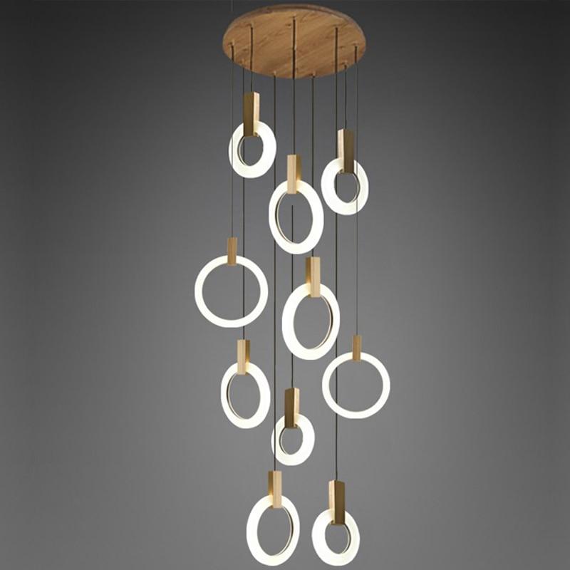 купить Modern LED chandelier nordic living room pendant lamp bedroom fixtures stair lighting novelty illumination loft hanging lights по цене 3362.48 рублей