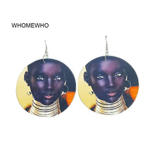 60cm Africa Wood African Black Queen Native Girl Geometric Egyptian Earrings Bollywood Vintage Jewelry Wooden DIY Ear Accessory