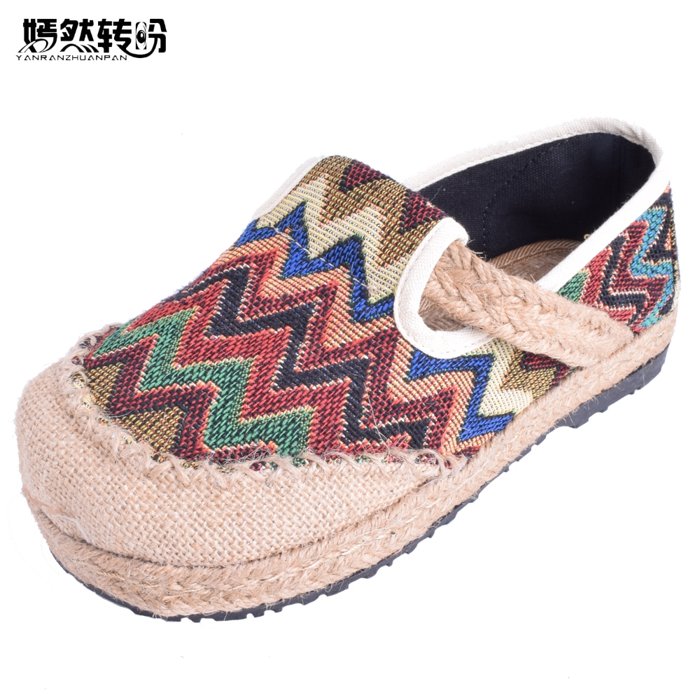 Vintage Women Flats Shoes Thailand Boho Rainbow Stripes Embroidery Harajuku National Hemp Bottom Loafers Flat Sapato Feminino chinese women flats shoes vintage boho