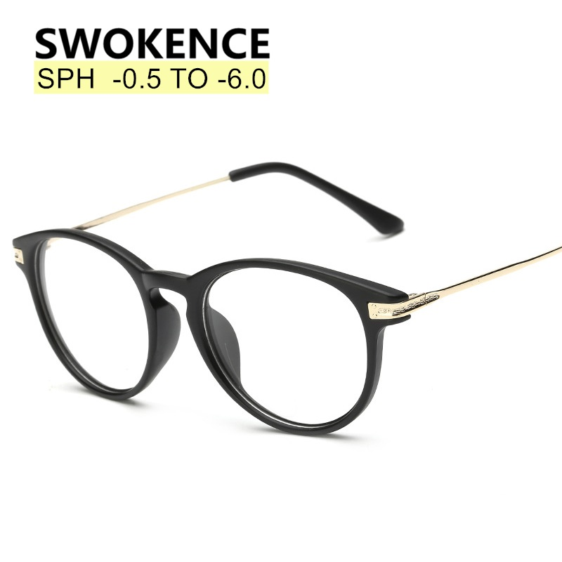 SWOKENCE Dioptre -<font><b>0.5</b></font> to -6.0 Upscale Myopia <font><b>Glasses</b></font> Men Women Name Brand Fashion Finished Nearsighted <font><b>Glasses</b></font> End Product F171 image