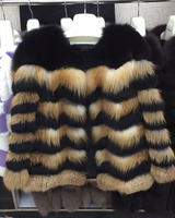 2018 new fox fur coat red fox silver blue fox striped full leather jacket winter warm women's fashion show models