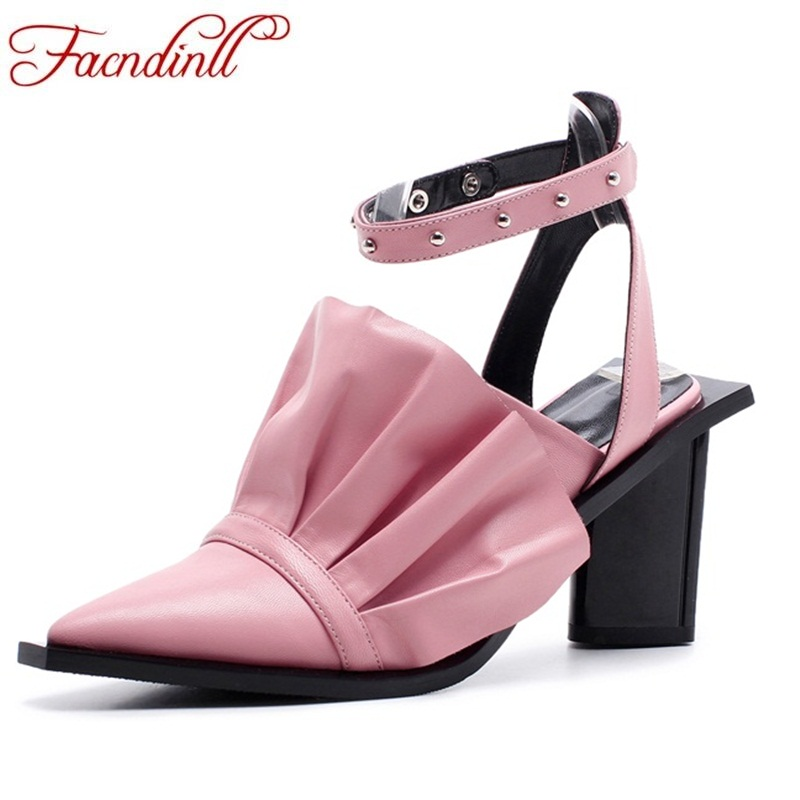 FACNDINLL  summer 2018 fashion women shoes high heels genuine leather womanliness grace style women sandals dress shoes size 40 facndinll genuine leather sandals for