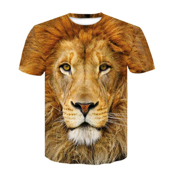 High-quality 2019 short-sleeved T-shirt men's fashion brand design 3D printed T-shirt men's high-quality animal lion head printe