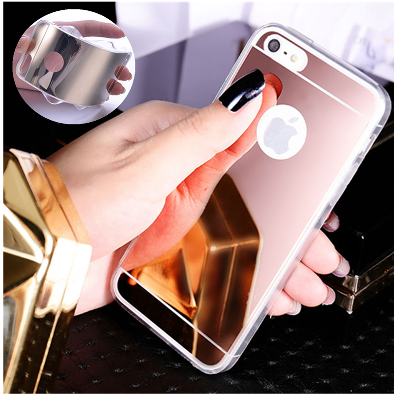 NFH Clear Mirror Silicon Plastic Soft TPU Celular For Apple iPhone 4 4G 4S Fashion Makeup Mirror Back Cover Case On 4S Rose Gold