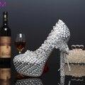 Мода женщина туфли на платформе хрустальные туфли на каблуках красивый горный хрусталь круглый носок ну вечеринку выпускных вечеров Большой размер 34 - 43