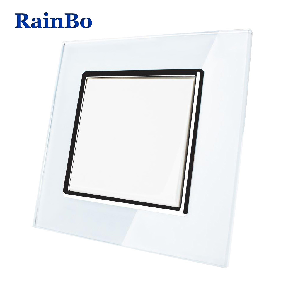 RainBo Brand Push Button Switch Manufacturer of Wall Light Switch  Crystal Glass Panel AC 110-250V 1Gang1Way A1711W/B rainbo crystal glass panel smart switch eu wall switch 110 250v remote touch switch screen wall light switch 1gang2way a1914w b