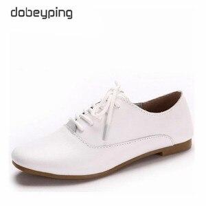 Image 1 - Mocassins en cuir véritable pour femmes, chaussures Oxfords, plates, à bout pointu, souples, chaussures de conduite, nouvelle collection chaussures décontractées à lacets