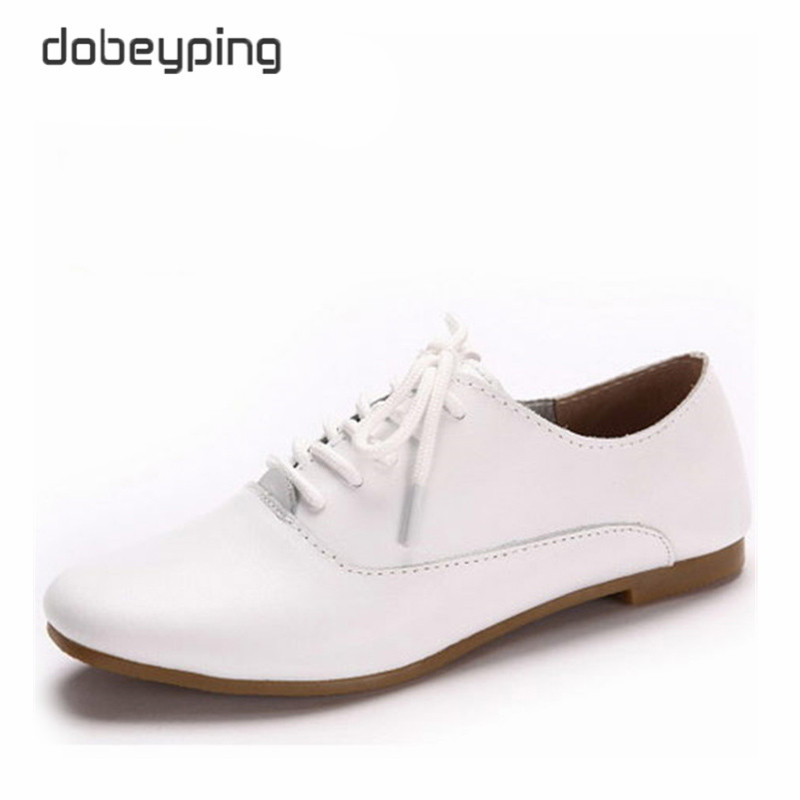 Nye ekte lær kvinners Oxfords sko Kvinner Casual Shoe Lace Up Kvinne Flats Loafers Pekete Toe Soft Female Driving Shoes