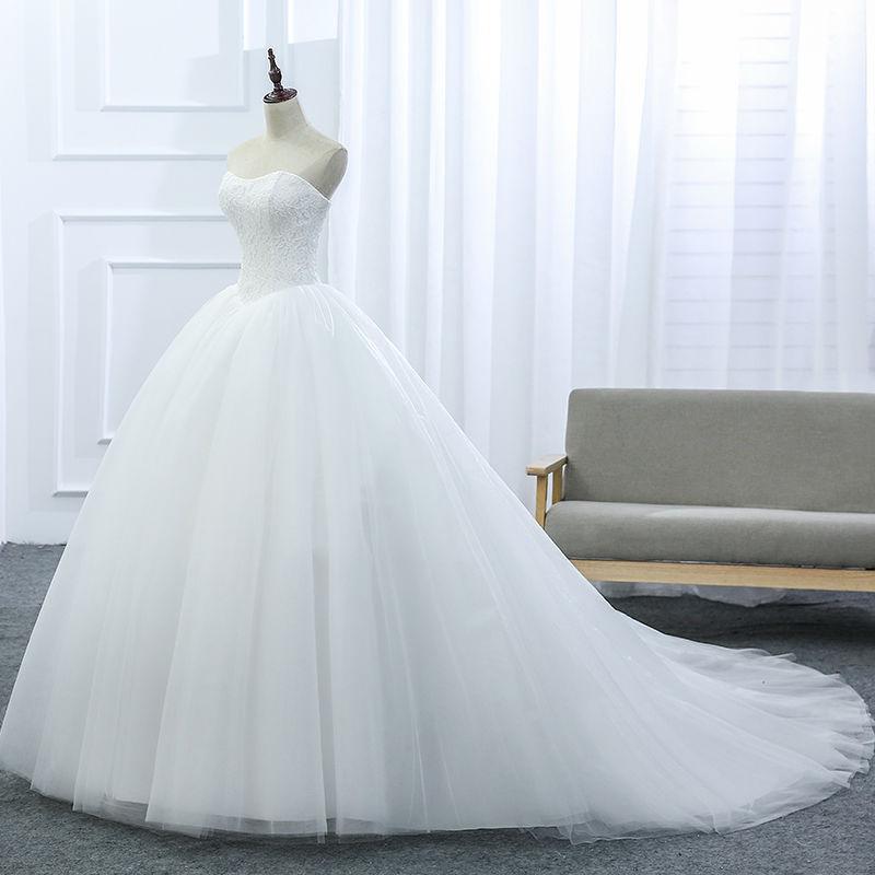 VENSANAC 2017 New Lace Strapless Sleeveless White Satin Court Train Bridal Wedding Dress Wedding Ball Gown 30437 2