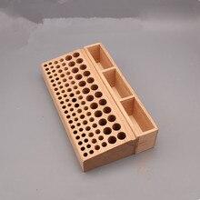 98 รูหนังหัตถกรรมเครื่องมือผู้ถือกล่องไม้ไม้ Punch Handwork เครื่องมือยืนผู้ถือ Organizer สำหรับเจาะ Bits