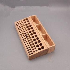 Image 1 - 98 löcher Leder Handwerk Werkzeug Halter Box Holz Rack Holz Punch Handarbeit Werkzeug Stehen Halter Organizer für Bohrer Lagerung