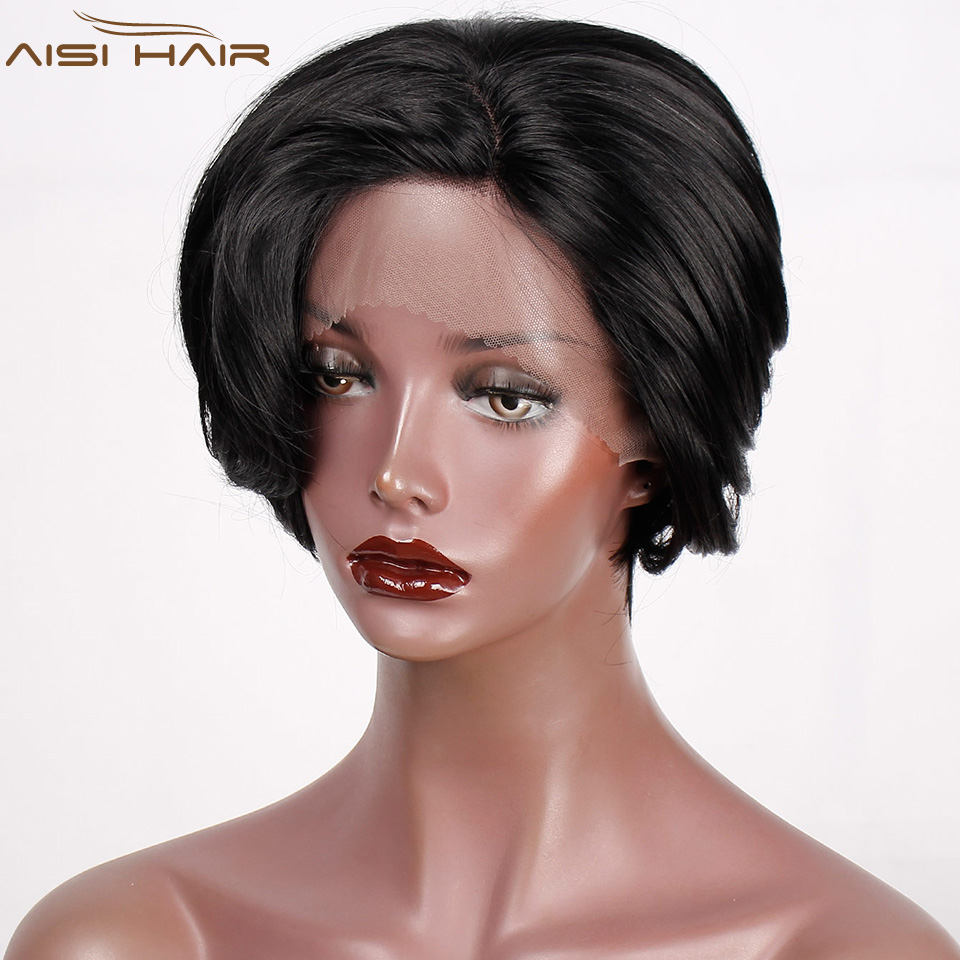 Short Wavy Synthetic Front Lace Wigs For Women Black Bob Wig Free Part 6 Inch Wave African American Resistant Fiber Hairs