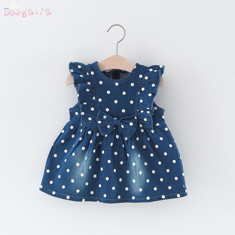 2018 Spring Baby Girls Kids Denim Jeans Ruffles Sleeveless Bow Dot Polka Tank-Dresses Princess Infants Tutu Dress Vestido S6214