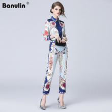 Banulin 2018 New Fashion Runway Pants Two Pieces Set Womens Long Sleeve Floral Print Blouses + Vintage Sets Suit