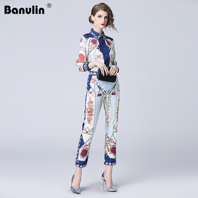 6f641324d52a2 US $31.45 40% OFF|Banulin 2018 New Fashion Runway Pants Two Pieces Set  Women's Long Sleeve Floral Print Blouses + Vintage Pants Sets Suit-in  Women's ...