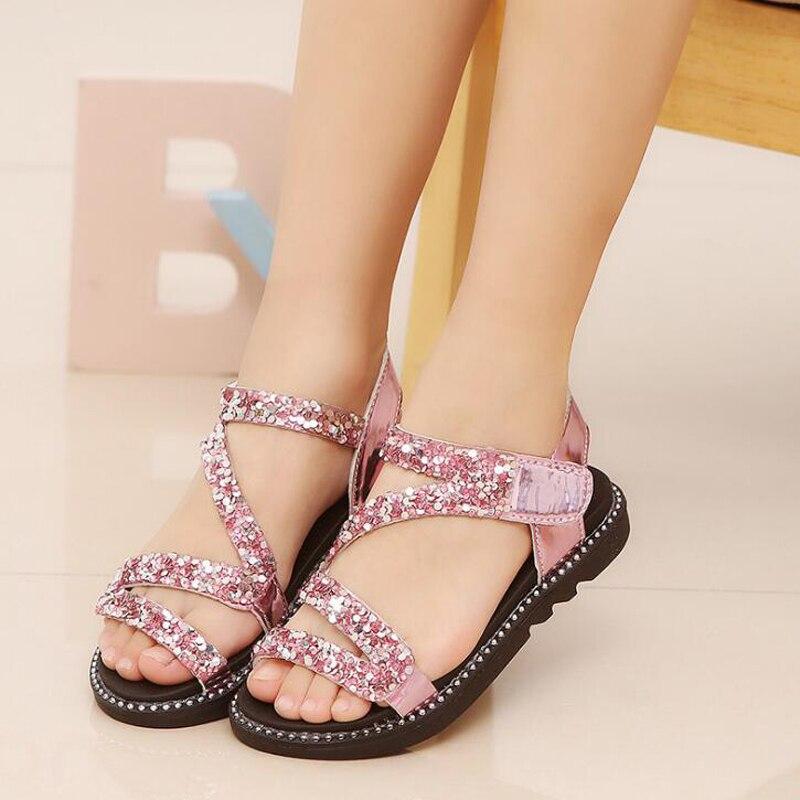 Girls Gladiator Sandals Summer Bling Sequins Princess Sandals Flat Heels Soft Leather Hook Loop Glitter Shoes For 3-14 Ages Girl