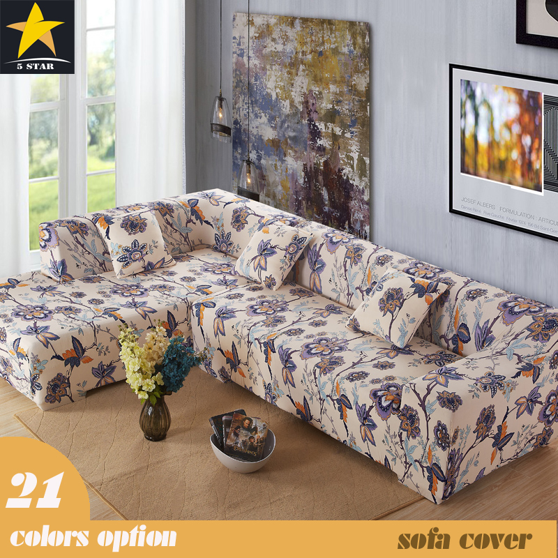 Little Stars Design Sectional Slipcover 100% Polyester Plain Dyed L Shaped  Couch Covers Big