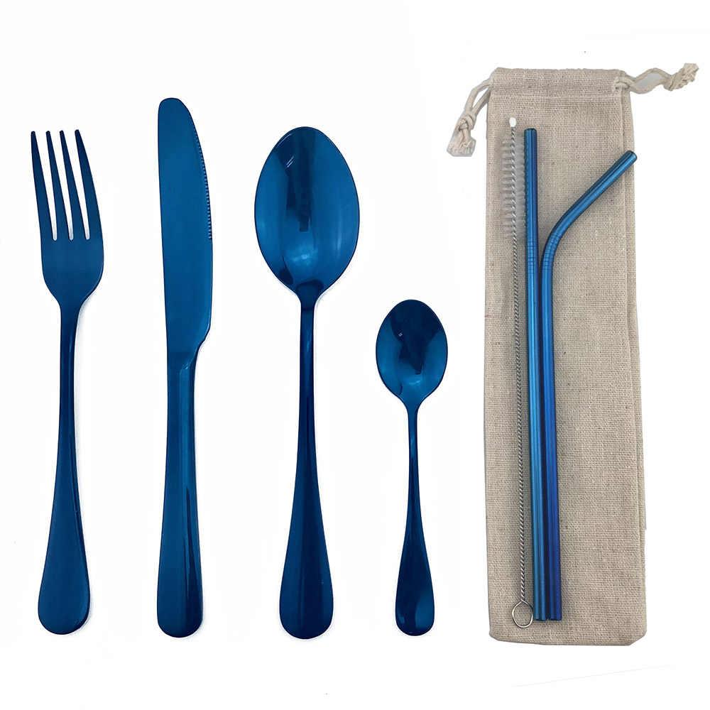 Couverts métalliques en acier inoxydable 18/10 bleu brillant miroir, service de table, service de table, couteau à Steak, fourchette cuillère à café
