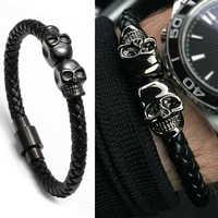 Mcllroy bracelet homme/cuir véritable/squelette/crâne/bracelet homme noir aimant crâne bracelets hommes bijoux pulseras hombre