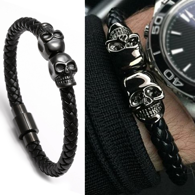 skull bracelet men/Genuine leather/Skeleton/Skull/bracelet homme Black Magnet skull bracelets men jewelry pulseras hombre