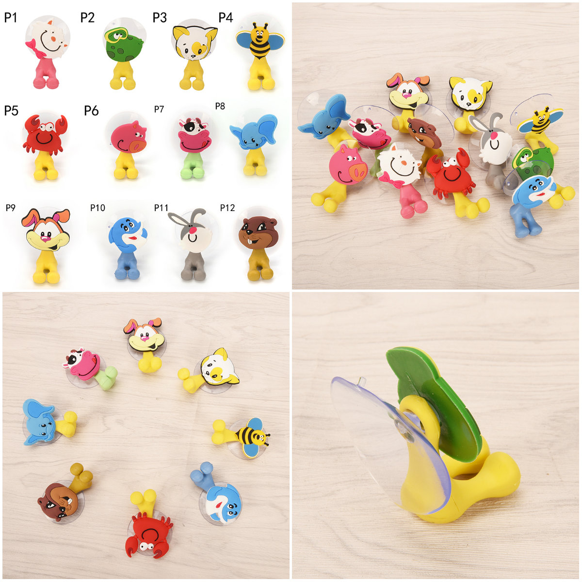 12 Styles Cartoon Cute Animals Suction Cup Toothbrush Holder Wall Suction Holder Tool Bathroom Accessories
