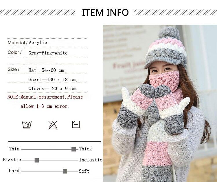 CIVICHIC Style coréen chaud ensemble dame Crochet hiver écharpe chapeau gant masque 4 pièces mignon Pompon casquette épaissir mitaines rayure châle SH188 - 6