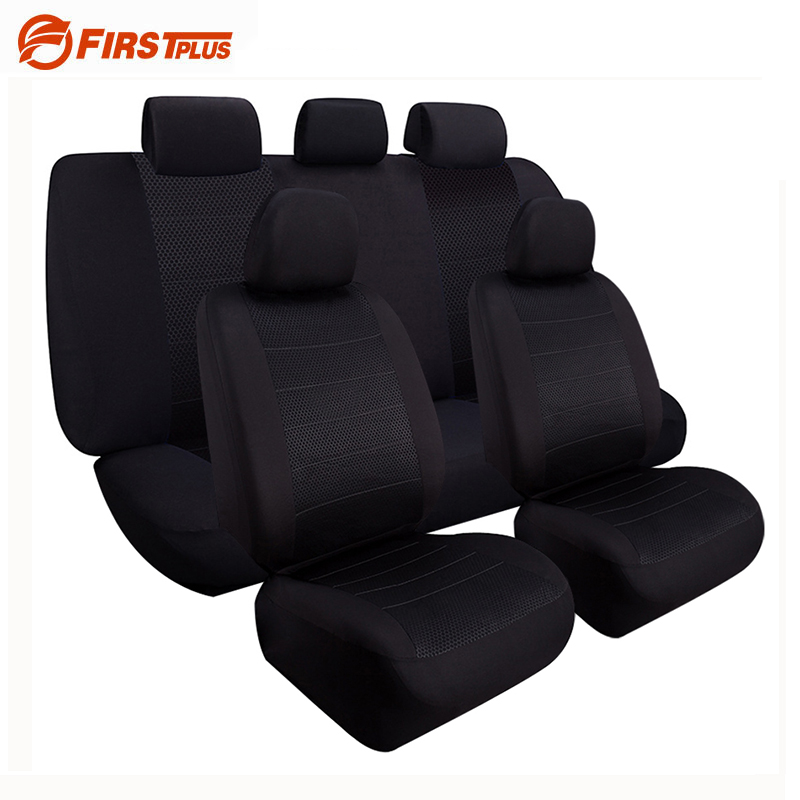 Black Elastic Full Seat Covers Universal Fit Front Back Seat Protector Cushion Cover Auto Chair - Car Sport Styling
