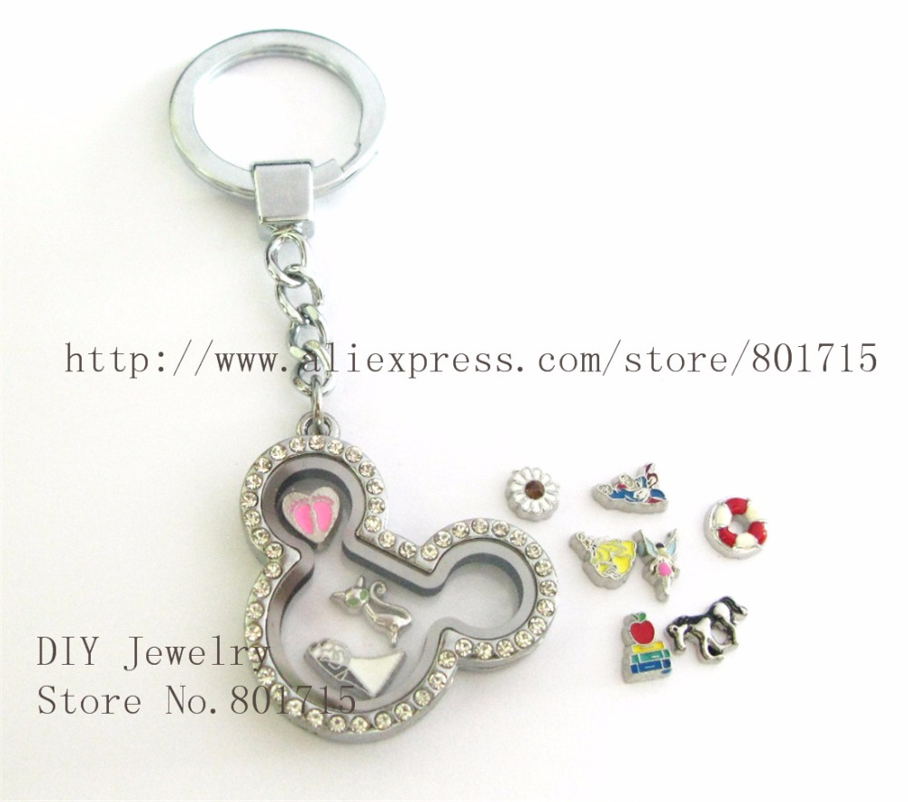 Fashion mouse head shape Locket Keychain locket with keyring Living Memory Floating Locket Perfect Gift with Beautiful Design