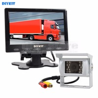 DIYKIT Wire 7 Inch Touch Car Monitor IR Rear View CCD Waterproof Car Camera Kit For