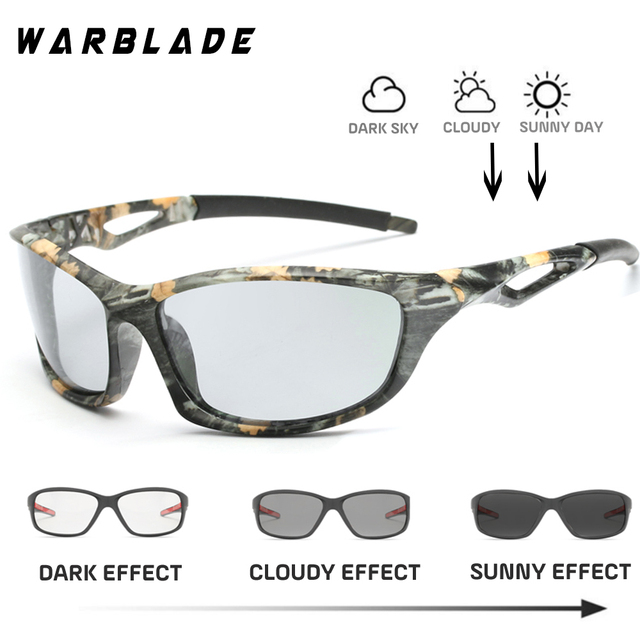48a7719c2a Photochromic Sunglasses Polarized Men Sport Sun glasses Camo Frame Eyewear  UV400 Polaroid Oculos De Sol WarBLade