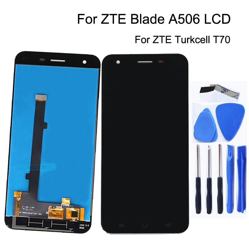 5.2 インチ zte ブレードため A506 液晶ディスプレイの交換デジタイザ修理キット zte Turkcell T70  ガラスパネルディスプレイ   無料ツール -    グループ上の 携帯電話