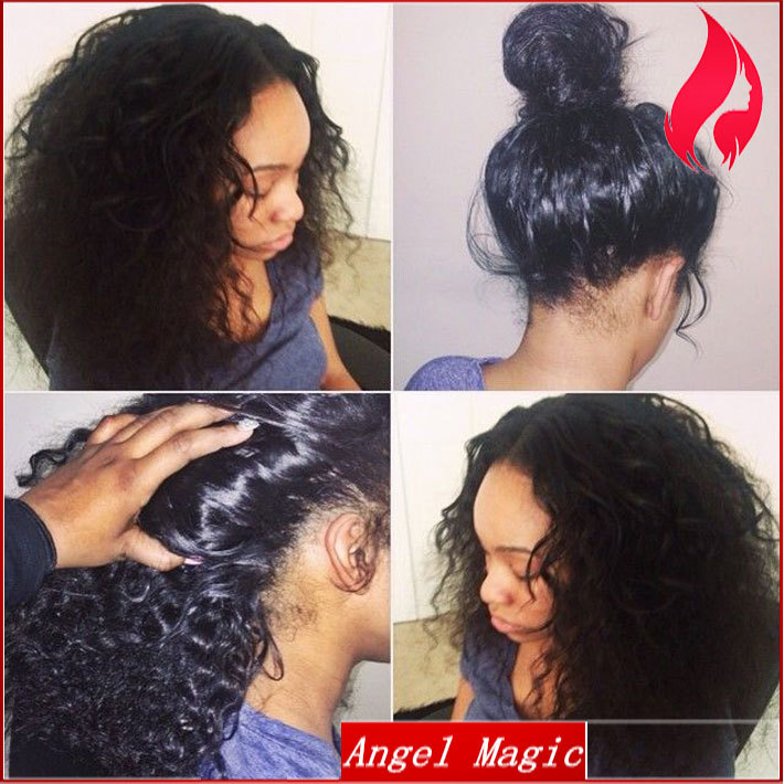 High Quality Virgin Human Hair Brazilian Glueless Full Lace Wigs Ponytail With Baby Deep Wave Front Black Women In From