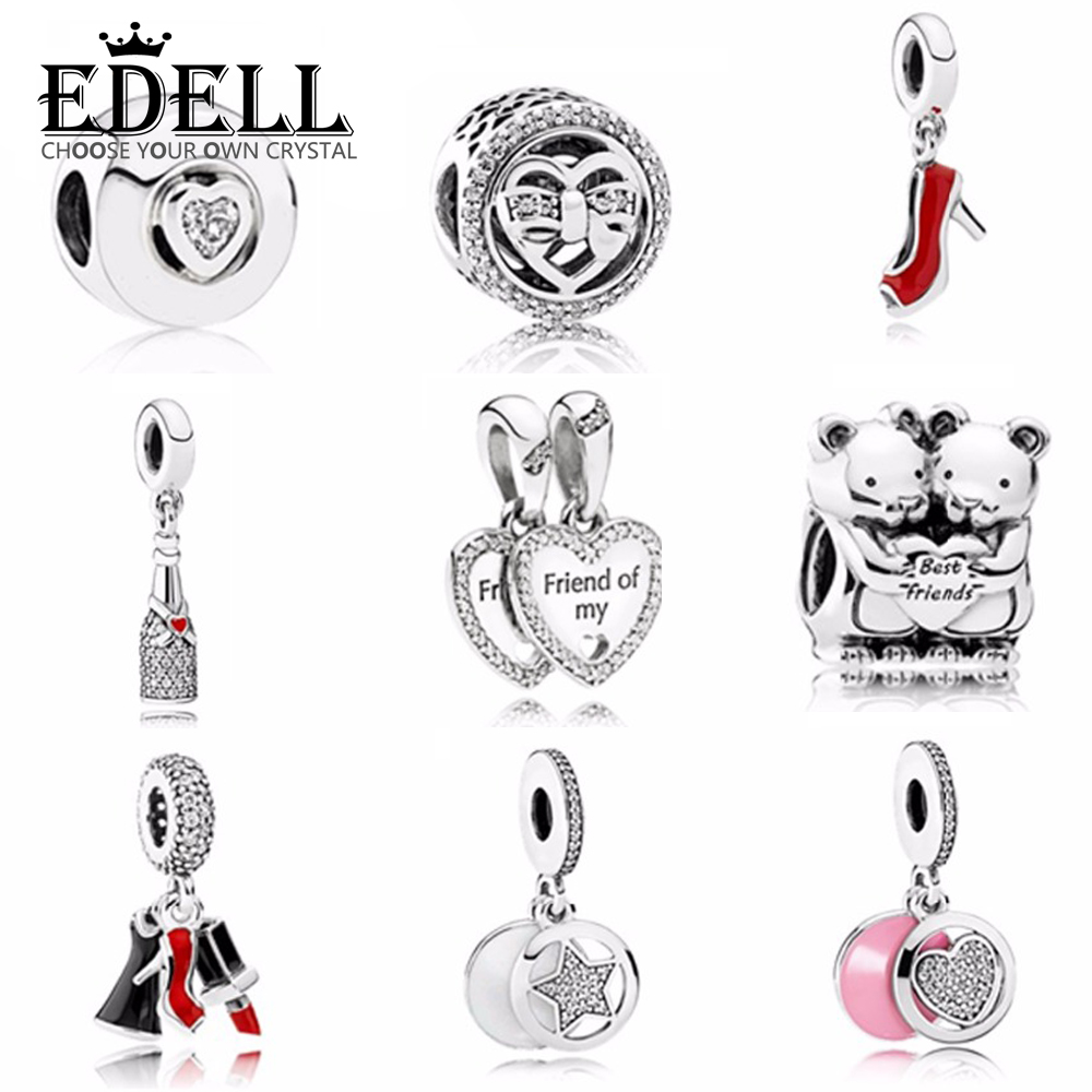 EDELL Lovely Charms Love Bead High Heels Pendant Fits Original A Early Autumn Series S925 Sterling Silver DIY Jewelry Gift