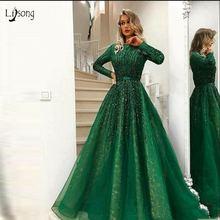 Великолепное зеленое блестящее вечернее платье с бусинами 2018