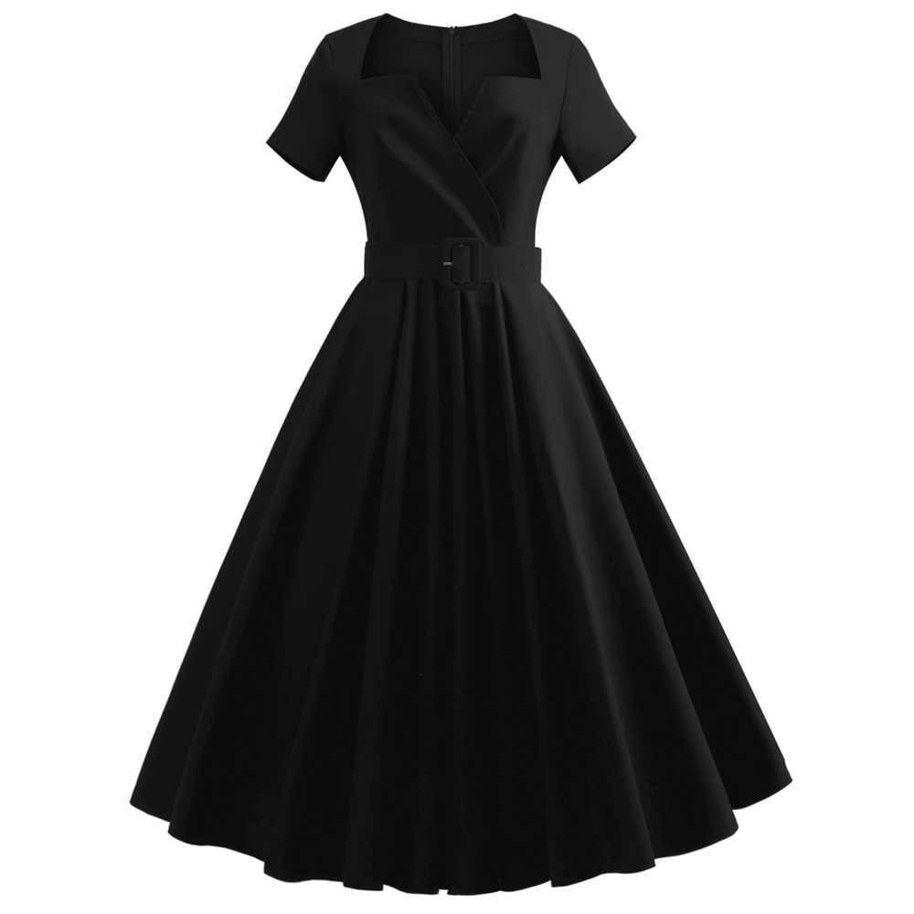 5143018fd3 3XL 4XL 5XL Plus Size Short Sleeves Vintage Dress Belt Cotton Solid  Black/Red Audrey Hepburn Retro Party Vestidos Office Dresses