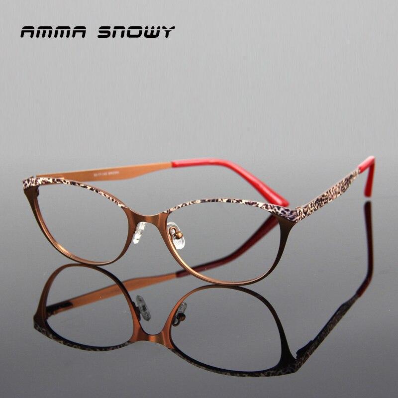 7b9a5794fb AMMA SNOWY Red Eyeglasses Frame Women Cat Eye Retro Sexy Eyeglasses  Prescription Acetate Eye Frames Stainless Steel AS060-1
