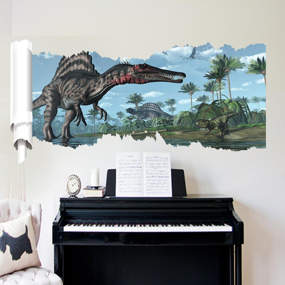World Park Dinosaurs Wall Stickers For Kids Rooms Boy Room Decoration 3d  Window Effect Wall Decals Poster Wall Paper Mural  In Wall Stickers From  Home ...