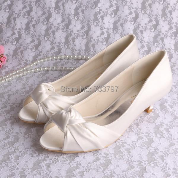 Wedopus Custom Handmade 2016 Low Heel Ivory Wedding Shoes Open Toe Autumn Spring wedopus customize handmade closed toe luxury high heeled shoes for wedding ivory satin