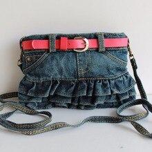 Children Kids Girls Princess Pretty Casual Denim Jeans Red Belt Handbag Messenger Shoulder Bag Cross Body Handbags Coin Purse