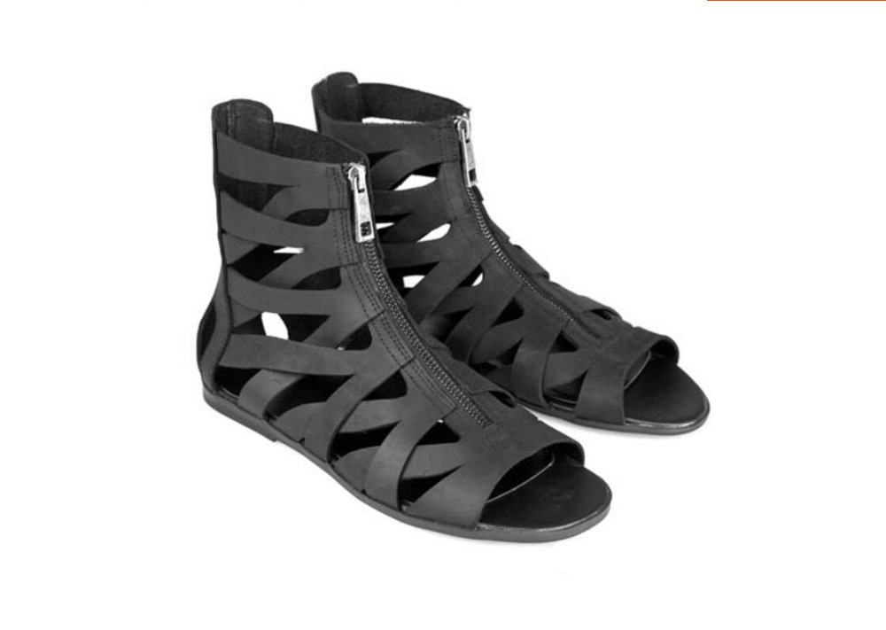 Red Man Sandals Punk style Leather Summer Cool Beach Shoes Cut Out Flip-Flops Roman Male Black Sandals High Top Man Summer Boot