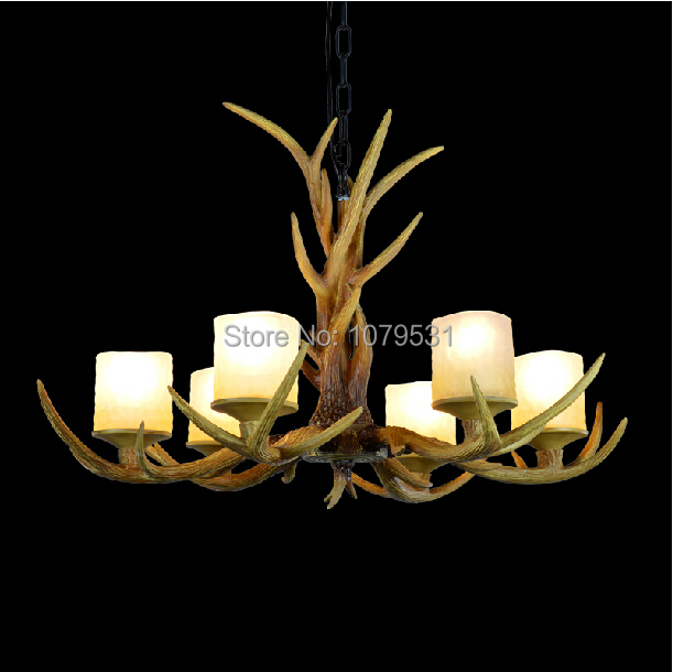 Europe Country 6 Heads American Retro Chandelier Light Resin Deer Horn Antler Glass Lampshade Decoration, E27 110-220V europe country 5 heads french retro pendant light resin deer horn antler glass lampshade home decoration lighting e27 110 220v