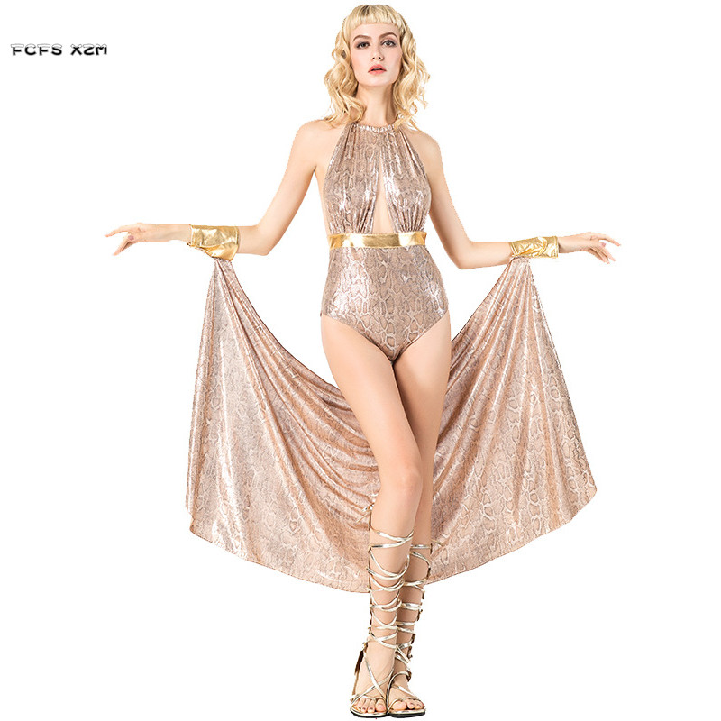 Sexy Woman Greece goddess Athena Cosplay Female Halloween Cleopatra Costumes Carnival Purim Nightclub Bar stage play party dress