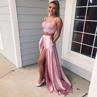 Prom Dresses 2019 Long Two Pieces vestido de festa Formal Pageant Evening Party Dress Prom Lace Top vestidos de fiesta de noche