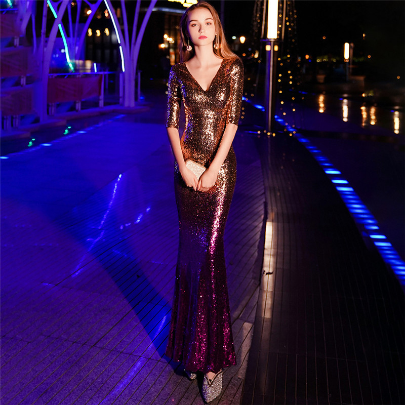 Image 5 - It's Yiiya Sequined Prom dress V neck half sleeve long shinny party Gowns Floor length zipper back Mermaid evening dresses C077-in Evening Dresses from Weddings & Events