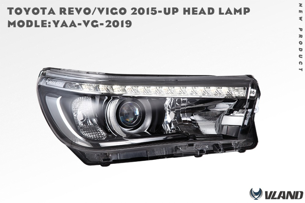 Free shipping for VLAND factory car Head lamp for Toyota Revo led headlight 2016 2017 Hilux LED headlight Vigo H7 Xenon lamp free shipping for vland factory for car head lamp for audi for a3 led headlight 2008 2009 2010 2011 2012 year h7 xenon lens