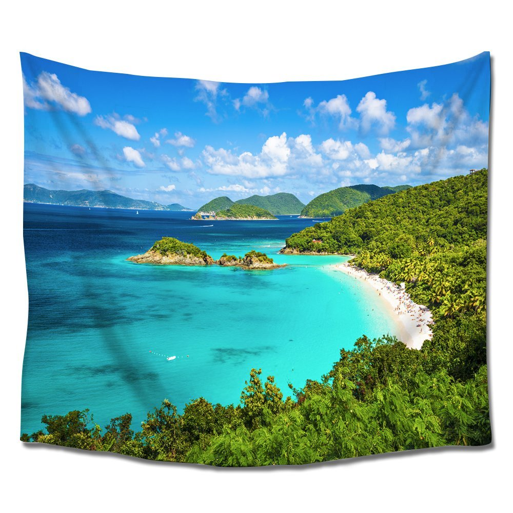Ocean Tapestries Tropical Island Wall Tapestry Hangings Indian Art Polyester Fabric for Home Bedroom Living Room Dorms Blue